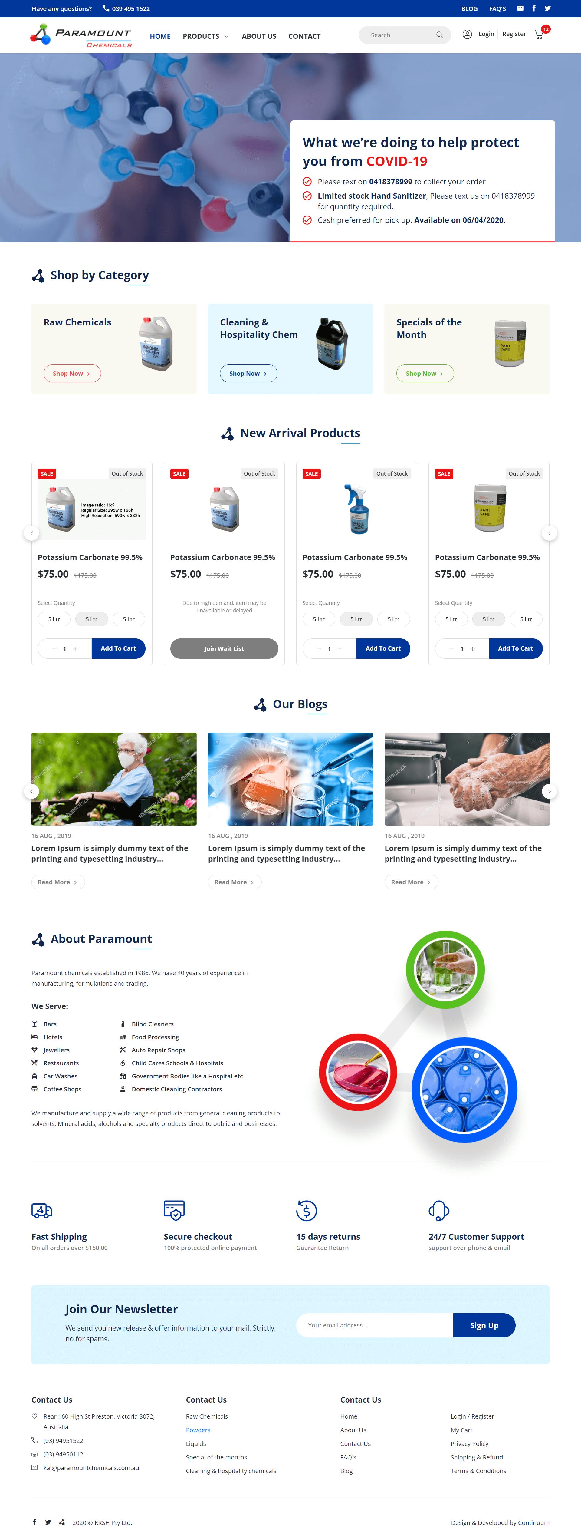 chemical ecommerce website development